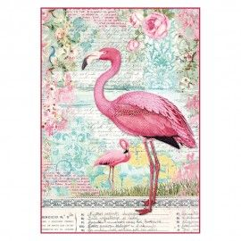 Decoupage rice Paper A4.Pink flamingo