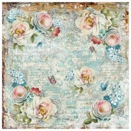 single Napkin rice paper. White roses and gearwheels